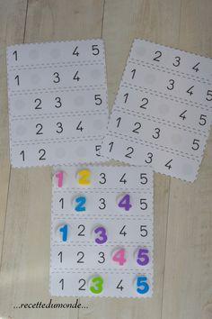 Apprendre les nombres de 1 à 5 avec des bouchons