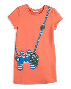 Short-Sleeve Binocular Trompe l'Oeil Dress, Size 6-10, Girl's, Size: 6, Rasberry - Little Marc Jacobs