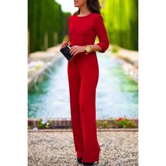 Wholesale Stylish Three Quarte Sleeve Round Neck Backless Solid Color Women's Jumpsuit Only $7.02 Drop Shipping | TrendsGal.com