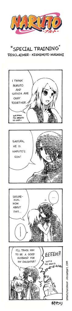 training boruto to be a good husband for Sarada.(I kinda ship Sarada and boruto.go ahead Sasuke.go ahead. Naruto Comic, Anime Naruto, Naruto Fan Art, Naruto Shippuden Anime, Naruto And Sasuke, Manga Anime, Hinata, Kakashi, Gaara