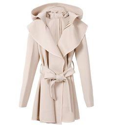 Hooded Turndown Collar Coat Beige with Belt i3613072
