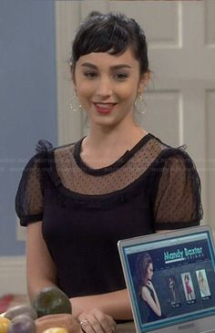 Mandy's black sheer polka dot panel top on Last Man Standing Molly Ephraim Hot, Mandy Last Man Standing, Picture Outfits, Black Girl Fashion, Lace Inset, Celebrity Outfits, Woman Crush, Autumn Winter Fashion, Winter Style
