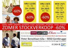 Zomer stockverkoop kleding, schoenen en accessoires -- Gentbrugge -- 12/05-27/05