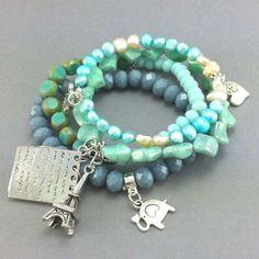 Zestaw bransoletek turkusowe kryształki i perły słodkowodne Turquoise Bracelet, Beaded Bracelets, Jewelry, Fashion, Jewellery Making, Moda, Jewerly, Jewelery, Fashion Styles