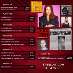 Week of August 24th, 2015 performance schedule. Click to buy tickets.