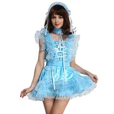 This Gocebaby light blue sissy puffy maid costume is made from high quality satin and organza fabrics its a lockable dress and it makes you feel ultra feminine and sexy