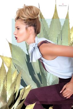 Etrala London CACTUS collection Made in London from 100% natural fabrics Aubergine suede overalls Washed silk big bow blouse