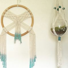 Worked on some dip dying and matching plant hangers with wall hangings! MossHound Designs on Etsy