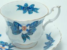 "Royal Albert ""Nova Scotia Tartan"" Vintage Fine Bone China Tea Cup and Saucer Made in England"