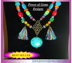 TASSELS FUNmulti color turquoise necklace blue Best by powerofgems, $64.00