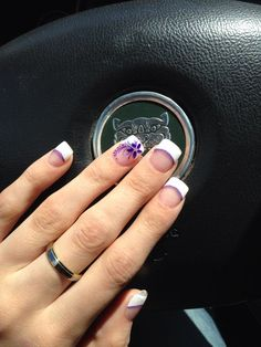 French Tip With A Twist Lovely Flower On The Ring Finger Nail
