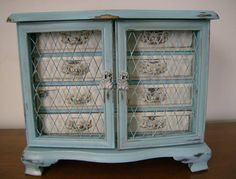 Vintage jewelry box makeover with Barbados Blue and Champagne Glaze by Tonya of Delyla Designs