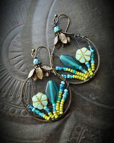 Flowers, Wire Wrapped, Hoops, Vintage Glass, Artisan Made, Summer, Spring, Glass, Organic, Rustic, Boho, Unique, Beaded Earrings