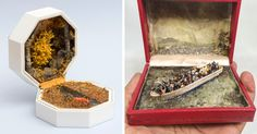 Canadian-Trinidadian artist Curtis Talwst Santiago (previously) imbues vintage jewelry boxes with both bucolic moments and scenes of societal disaster in a collection of work titled Infinity Series. Miniature Figurines, Miniature Crafts, Vintage Ring Box, Vintage Jewelry, New York Museums, Colossal Art, New Museum, Small Words, Canadian Artists
