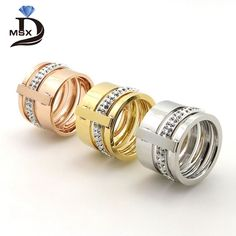 Find More Rings Information about Gold Plated Zircon Crystal Titanium Stainless Steel Rings for Women Men Wedding Jewelry Three Layers Beauty anillos Female,High Quality jewelry meaning,China gift box jewelry Suppliers, Cheap jewelry valentine from JINHUI on Aliexpress.com