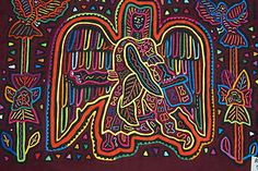 Beautiful detailed applique mola, created by a Kuna Indian from the San Blas islands, Panama, and once worn by its creator on a blouse. asmatcollection on ebay and Bonanza.com cheetahdmr@aol.com