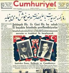 Cumhuriyet Newspaper of Turkey greeted H. Reza Shah Pahlavi, The Great, Reza Shah met with Mustafa Kemal Atatürk and spoke in Azeri Turkish with him and Atatürk spoke in Istanbul Turkish in Qajar Dynasty, Pahlavi Dynasty, Republic Of Turkey, The Republic, Iranian Art, Iranian Women, Imperial Symbol, Between The Lions, Nemean Lion
