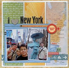 scrapbook - city...love the color strips for the background