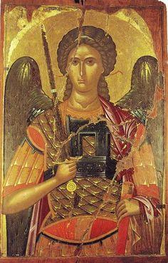 Eastern orthodox icon of Archangels Michael and Gabriel. Byzantine Icons, Byzantine Art, Religious Icons, Religious Art, Gabriel, Angel Warrior, Angels Among Us, Art Icon, Orthodox Icons