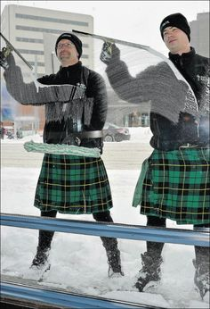 A blizzard couldnt keep Men In Kilts Chris Carrier, left, and Steven Ridden from their squeegees Thursday at a downtown Edmonton restaurant. Edmonton Restaurants, Men In Kilts, Pressure Washing, Lost Art, Window Cleaner, Tartan, Sexy Men, Mini Skirts, Hipster