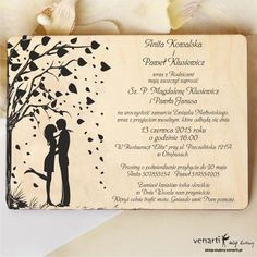 In-love couple Wooden invitation Romantic, wooden wedding invitation which impresses with its magical charm. Graphics on the left side shows a couple in love under a tree with heart-shaped leaves, blown with the wind. Love Couple, Couples In Love, Anna Smith, Wedding In The Woods, Wedding Invitations, Groom, Romantic, Bride, Color
