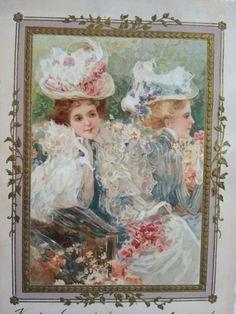 Art Nouveau gilded, embossed, litho postcard, elegant ladies, Meissner&Buch 1901 Art Nouveau, Vintage Postcards, Lady, Painting, Baby Born, Vintage Travel Postcards, Painting Art, Paintings, Painted Canvas