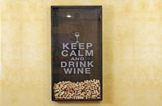"This Wine Cork Holder is a fun and unique way to display your wine corks that reads ""Keep Calm And Drink Wine"". A great gift for the wine lover in your life"