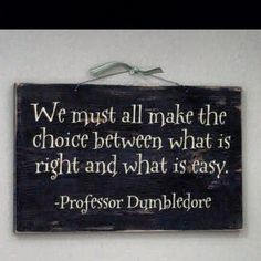 We must all make the choice between what is right and what is easy. - Professor Dumbledore