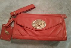 Only 6 hours left. Priced to sell at $58.50. Emma Fox Orange Gold Leather Turnlock Wallet Clutch Wristlet | eBay