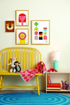 cute yellow bench and lovely graphic