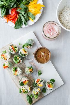 SPRING ROLLS WITH MANGO SAUCE SPICY + AT ALMOND BUTTER