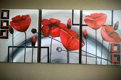 Painting, Modern Paintings, Red Flowers, Poppies, Pintura, Flowers, Painting Art, Paintings, Painted Canvas