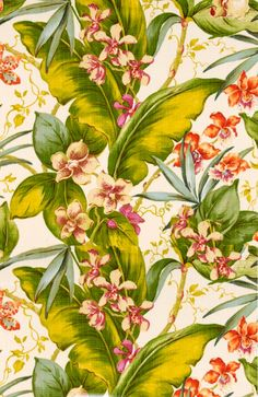 palm and floral textile