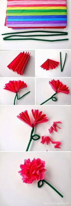 Easy Tissue Paper Flowers-Craft by Photo Tissue Paper Crafts, Paper Flowers Craft, Flower Crafts, Paper Roses, Diy Paper, Summer Crafts, Crafts For Kids, Arts And Crafts, Tissue Flowers