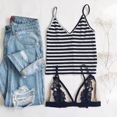 boyfriend jeans, striped tank, cute bralette