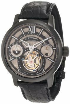 Stuhrling Original Men's 296C.3355X13 Tourbillon Limited Edition Imperial Tourbillon SE Mechanical Dual Time Black Watch Stuhrling Original. $789.00. Black IP-layered stainless steel case with beveled bezel and genuine sapphire crystal; Black genuine crocodile strap with black IP-plated dual deployment clasp; Silvertone hydraulically stamped guilloche pattern dial with dual time and am/pm indicator subdials; Limited edition, two-hand movement with open-heart tourbillo...
