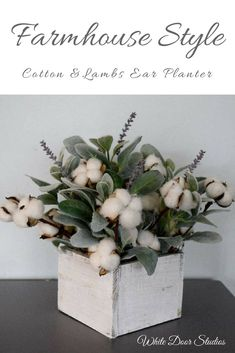 Farmhouse Style Cotton and Lambs Ear Arrangement Planter--Cotton stems and white wood are staples of farmhouse style decor. Paired with soft green lamb's ear stems and sprigs of lavender, this cotton arrangement is rustic, farmhouse perfection. Handcrafted with natural cotton boll stems, charming artificial lamb's ear greenery and lifelike artificial lavender. #farmhousestyle #planters #centerpieces #homedecor #farmhouse