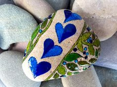 All things grow with love / painted rocks / from the sea / Sandi Pike Foundas / beach stone from Cape Cod by LoveFromCapeCod on Etsy