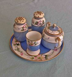 Nippon Breakfast Set, 6 Pc. Hand Painted Nippon, Vintage Nippon China, MINT Condition, Nippon Salt and Pepper, Nippon Egg Cup, Nippon Sugar
