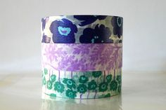 Japanese POPPY Washi Tape NAVY Purple Teal Set of 3  $12.25