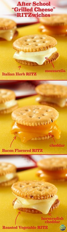 A trio of grilled cheese RITZ crackers make for a tasty and easy after school snack to share with the kids. Try bacon flavored RITZ with plain cheddar, roasted vegetable RITZ crackers with horseradish cheddar, and Italian herb RITZ crackers with mozzarella. Quickly pop in the oven until cheese melts and maybe that math homework won't seem so hard! Life's Rich.