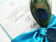Luxury Wedding Invitations | peacock themed wedding invitations with peacock blue ribbon colour ...
