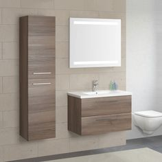 Seville Two Drawer Wall Hung Vanity Unit & Basin Walnut 800 - Modern Bathroom Furniture, Bathroom Cabinets Designs, Washbasin Design, Wall Hung Vanity, Bathroom Interior Design, Bathroom Decor, Bathroom Units, Bathroom Design Small, Small Bathroom Decor