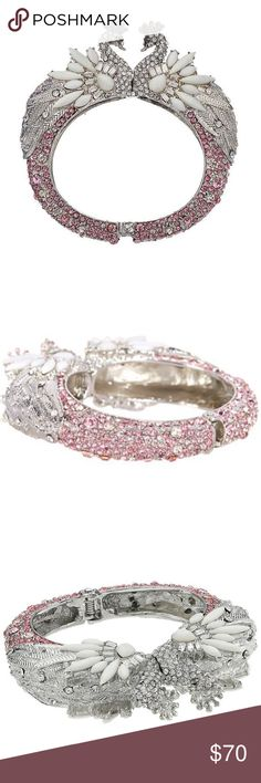 """‼️SOLD‼️Betsey Johnson Ballerina Rose Swan Bangle Betsey Johnson """"Ballerina Rose"""" Pave Swan Hinged Bangle Bracelet  Retail Price: $125.00 *EXTREMELY RARE* *SOLD OUT EVERYWHERE*  FEATURES/DETAILS: •This bracelet is from the Ballerina Rose Collection  •Silver-tone glass rhinestone and plastic embellished swan bangle •Pink and clear Pave' hinged bangle  •Pave' and white set stone crowned swan pair •Hinge closure  MEASUREMENTS: •8"""" L x 0.75"""" W  MATERIALS: •Silver-tone metal •glass •plastic…"""