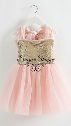 Blush Gold Sequin Dress, Big Bow, Tulle, Flower Girl, First Birthday, Junior Bridesmaid, Pink and Gold, Shimmer, Glitter, Ready to Ship