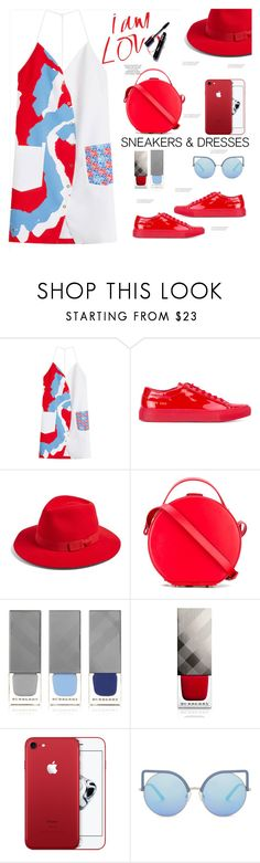"""Sporty Chic: Dresses and Sneakers"" by soranamikaze ❤ liked on Polyvore featuring Kenzo, Common Projects, Brixton, Nico Giani, Burberry and Matthew Williamson"