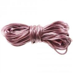 Satijnkoord Top Kwaliteit (vintage pink 2 mm ( per meter)  www.beadscreations.nl