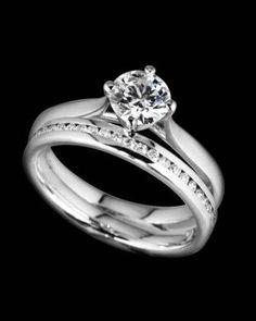 Beautiful Round Brilliant #Diamond #WeddingRing set ♥