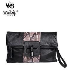 100% Genuine Leather Ladies Clutch Fashion Black Serpentine Women Messenger Bags Cowhide Shoulder Mini Crossbody Bag Sac A Main - HandBagList