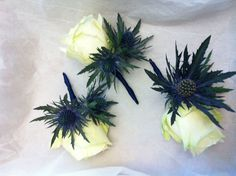 Single Rose and Thistle buttonholes bound with navy satin ribbon